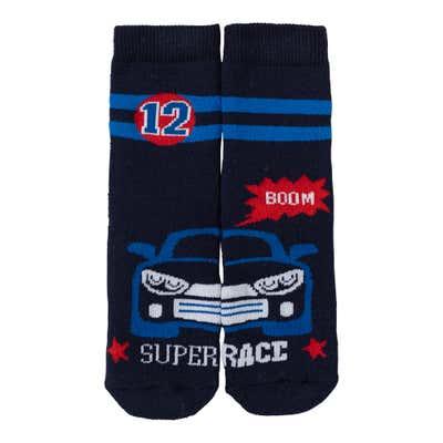 Jungen-ABS-Socken mit Rennauto-Motiv