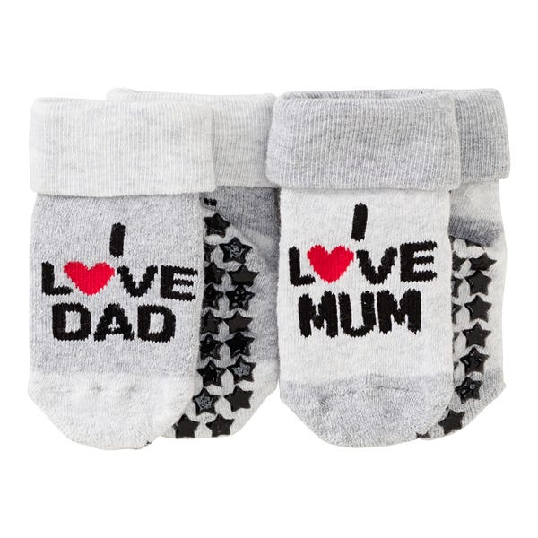 Baby-ABS-Socken mit süßem Spruch, 2er Pack