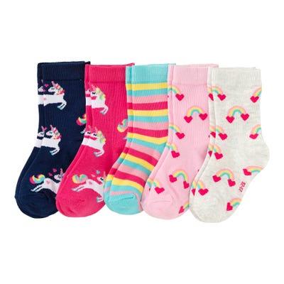 Mädchen-Socken mit Regenbogen-Muster, 5er Pack