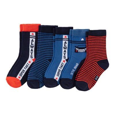 Jungen-Socken mit Rennauto-Motiv, 5er Pack