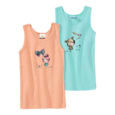 Mädchen-Unterhemd mit hübschem Frontaufdruck, 2er Pack