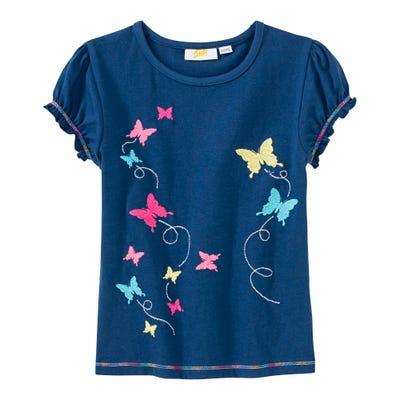 Mädchen-T-Shirt mit aufgestickten Schmetterlingen