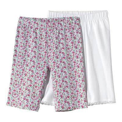 Kinder-Mädchen-Radler-Hose mit schönem Spitzenabschluss, 2er Pack