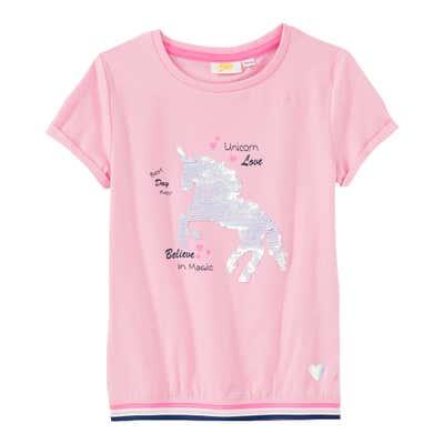 Mädchen-T-Shirt mit Wendepailletten-Einhorn