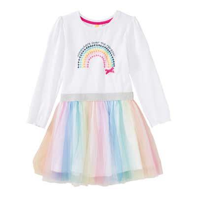 Mädchen-Kleid mit Regenbogen-Frontaufdruck