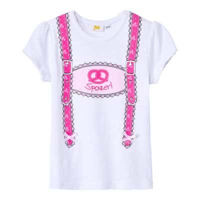 Kinder-Mädchen-T-Shirt mit feschem Hosenträger-Print