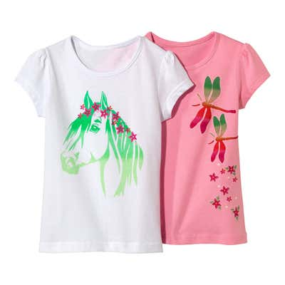 Kinder-Mädchen-T-Shirt mit traumhaftem Motiv, 2er Set