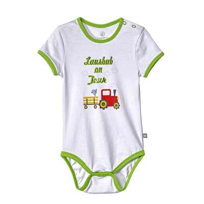 Baby-Jungen-Body mit aufgedruckten Hosenträgern