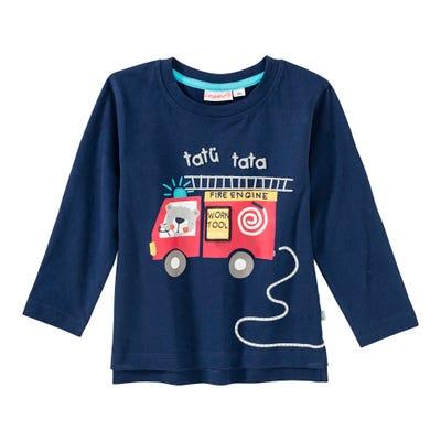Baby-Jungen-Shirt mit Feuerwehr-Frontaufdruck