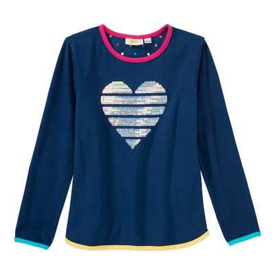 Mädchen-Shirt mit glänzenden Pailletten