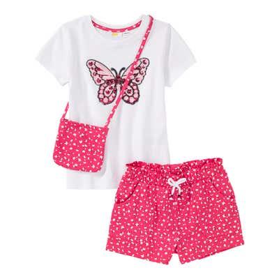 Mädchen-Set mit Pailletten-Schmetterling, 3-teilig