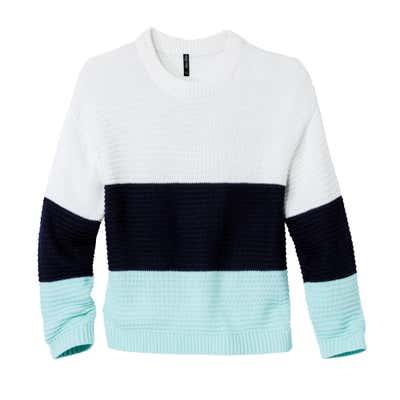 Damen-Pullover mit modernen Blockstreifen