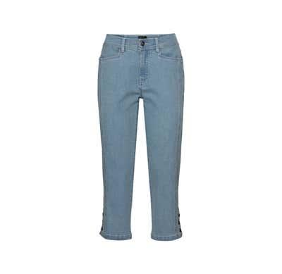 Damen-Jeanscaprihose mit Knöpfen am Beinabschluss