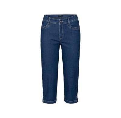 Damen-Jeanscaprihose mit modischen Schlitzen