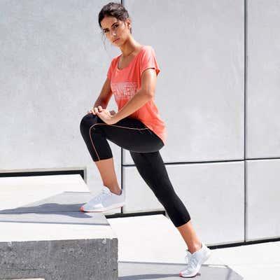 Damen-Fitnesshose mit sportlichem Seitenstreifen