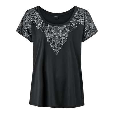 Damen-T-Shirt mit silbernem Aufdruck