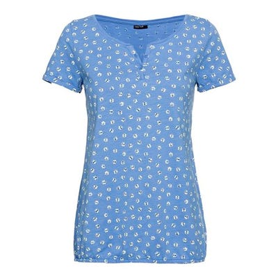 Damen-T-Shirt mit kleiner Knopfleiste