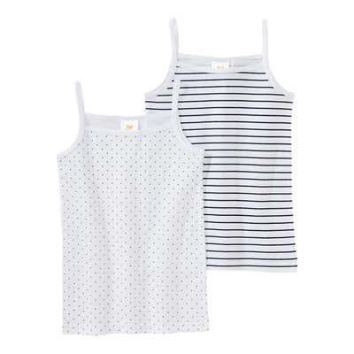 Mädchen-Unterhemd mit Ringelmuster, 2er Pack