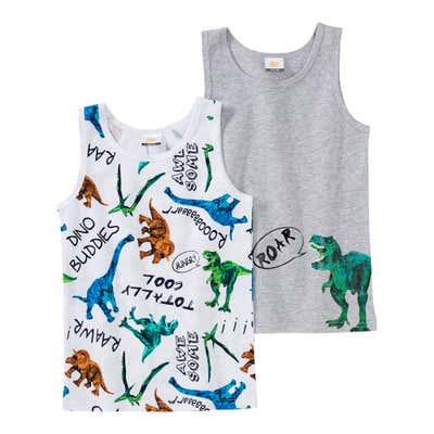 Jungen-Unterhemd mit Dino-Motiven, 2er Pack