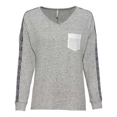 Damen-Sweatshirt mit gemustertem Zierband