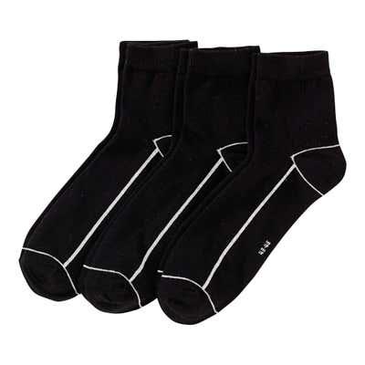Herren-Kurzschaft-Socken mit Kontrast-Streifen, 3er Pack