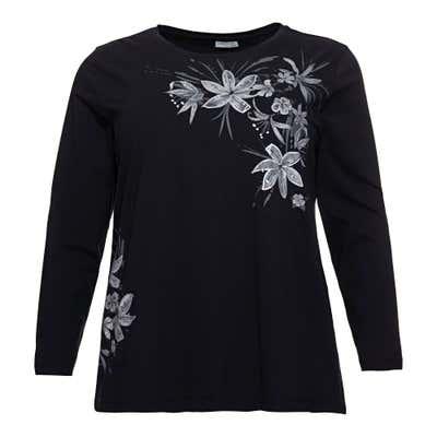 Damen-Sweatshirt mit Blumen-Aufdruck, große Größen
