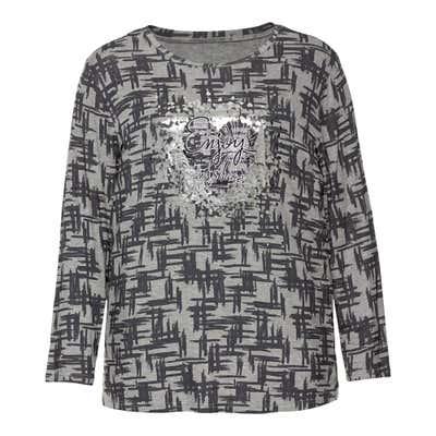 Damen-Shirt mit Herz-Frontaufdruck, große Größen
