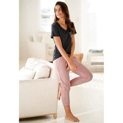Damen-Hose mit bedruckter Schleife