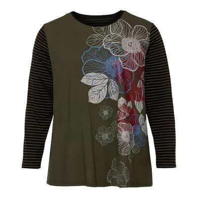 Damen-Shirt mit Kontrast-Ärmeln, große Größen
