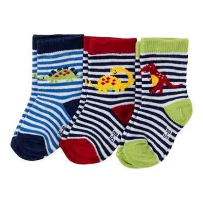 Baby-Jungen-Socken mit Dino-Motiven, 3er Pack