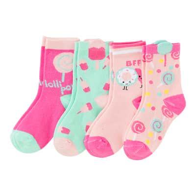 Mädchen-Socken mit modernem Design, 4er Pack