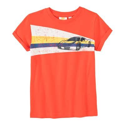 Jungen-T-Shirt mit Rennauto-Frontaufdruck