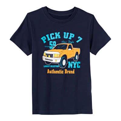 Jungen-T-Shirt mit Pick-Up-Frontaufdruck