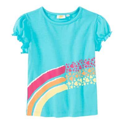 Mädchen-T-Shirt mit Regenbogen-Streifen