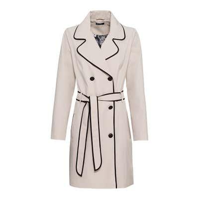 Damen-Trenchcoat mit Kontrast-Einfassband, mit Gürtel