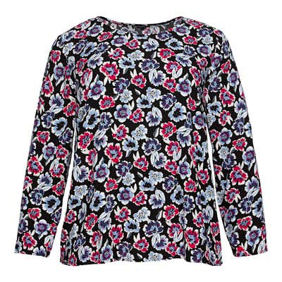 Damen-Bluse mit Blüten-Muster, große Größen