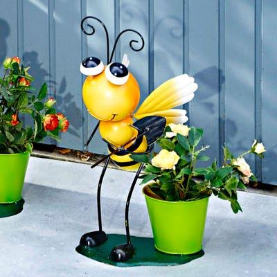 Bienenfigur mit Blumentopf, ca. 26x15x42cm