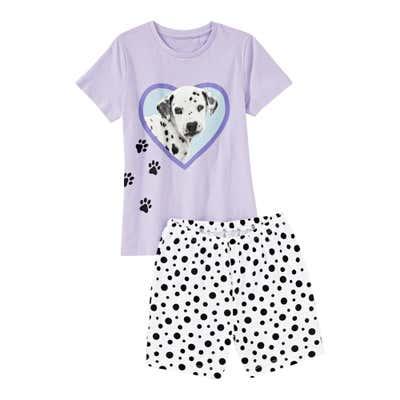 Mädchen-Shorty mit Dalmatiner-Frontaufdruck, 2-teilig