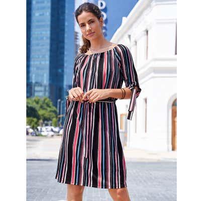 Damen-Kleid mit bunten Streifen