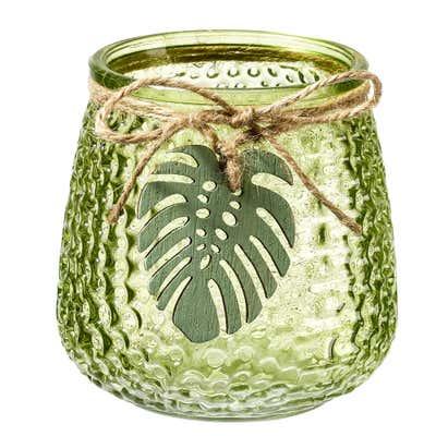 Kerzenglas mit hübschem Anhänger, ca. 10x10cm