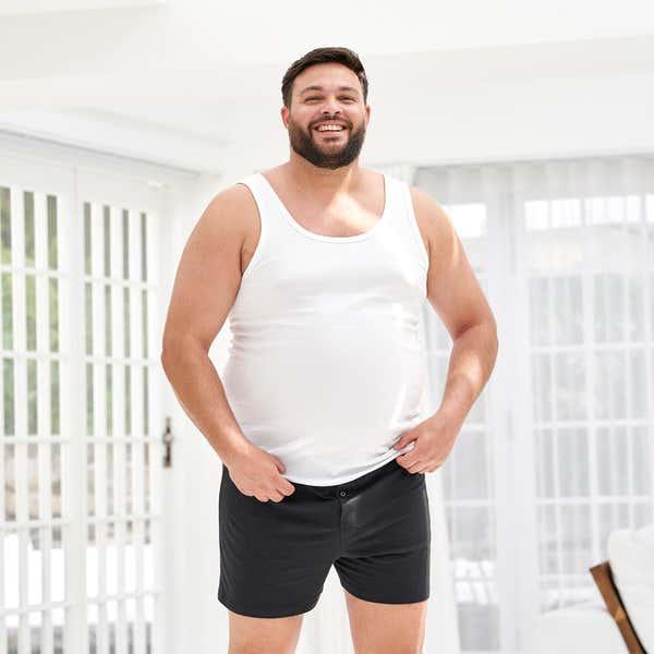 Herren-Boxershorts aus reiner Baumwolle, 2er Pack, große Größen