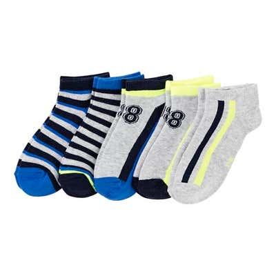 Jungen-Sneaker-Socken mit Kontrast-Design, 5er Pack