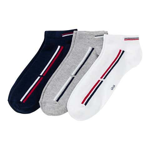 Herren-Sneaker-Socken mit Kontrast-Streifen, 3er pack