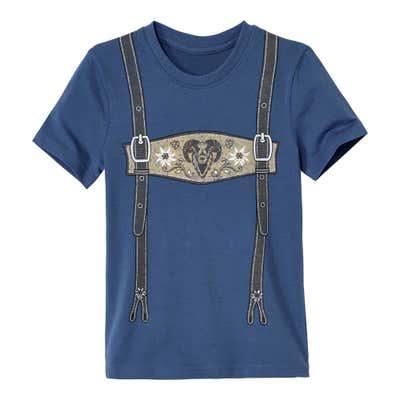 Kinder-Jungen-T-Shirt mit flottem Hosenträger-Aufdruck