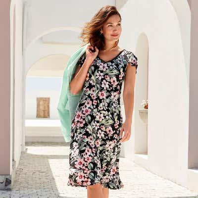 Damen-Kleid mit sommerlichem Blumenmuster