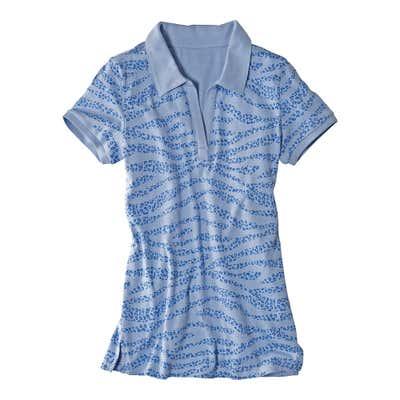 Damen-Poloshirt mit glitzernden Tigerstreifen