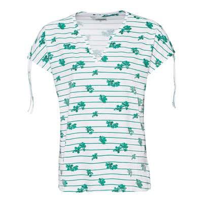 Damen-T-Shirt mit Zugband an den Schultern