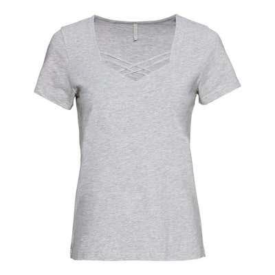 Damen-T-Shirt mit Zierbändern am Ausschnitt