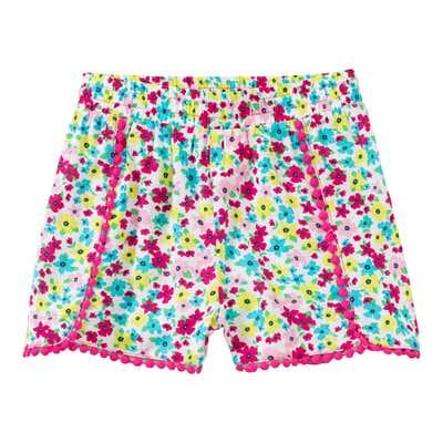 Mädchen-Viskose-Shorts mit Blümchen-Muster