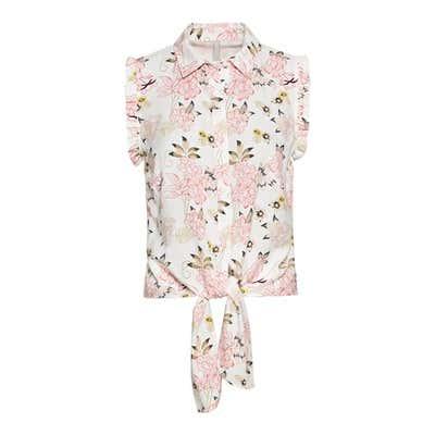 Damen-Bluse mit Bindebändern am Saum
